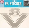 Decoratieve Sticker V8-Logo (zilver)
